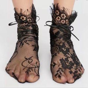 Free people Margot lace tie socks black new 🌟🌟